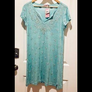 NWT CALYPSO ST BARTH SANDRELLI DRESS Turquoise  M